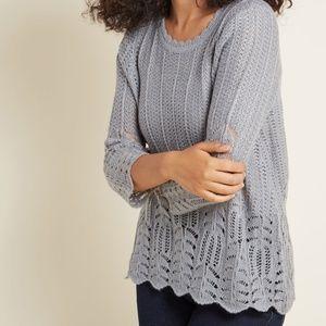 Modcloth Sheer Nostalgic Knits Scalloped Sweater S